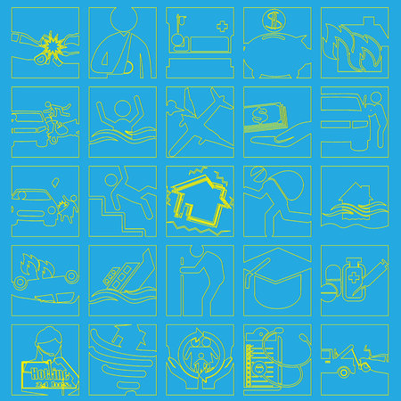 sea robber: yellow striped Insurance icons drawing in square on blue background. Vector style