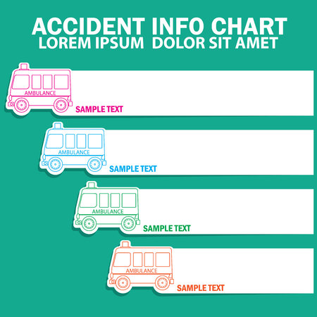 ambulance: Cute stripe ambulance icons and blank stripe for your text or your advice in vector style Illustration