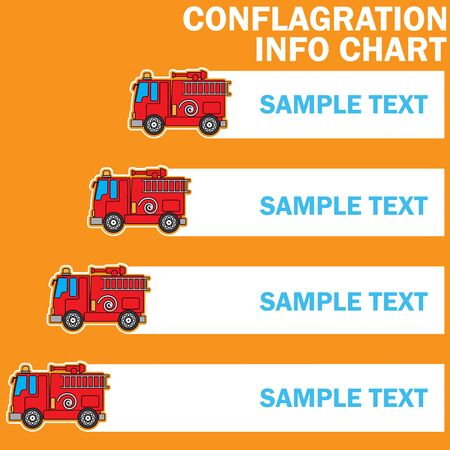commit: Color fire engine truck and blank stripe for add text of information. Vector style