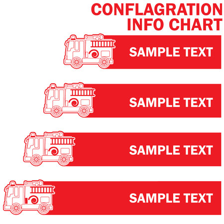 to commit: Red stripe fire engine truck and stripe for add text of information. Vector style Illustration