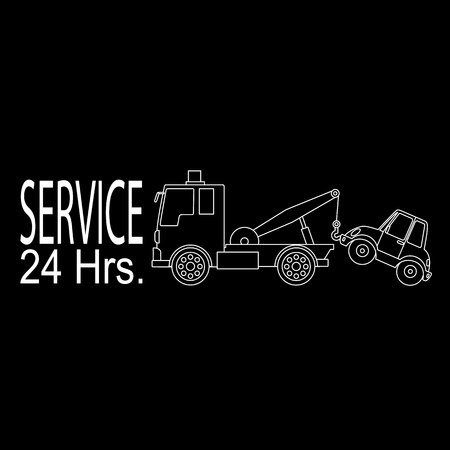 damage: Damage car towed by a emergency towing service in the vector style. Illustration