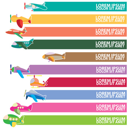 add text: Cute airplane icons and color stripe for add text of business information. Vector style
