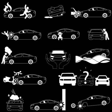 Car crash accident and insurance in vector stlye. Illustration