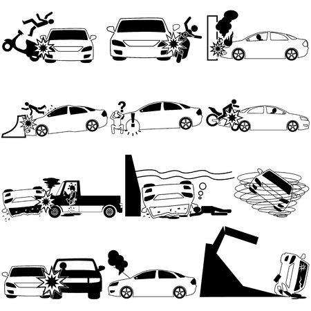 demolishing: Icons of personal car accident and insurance sign.