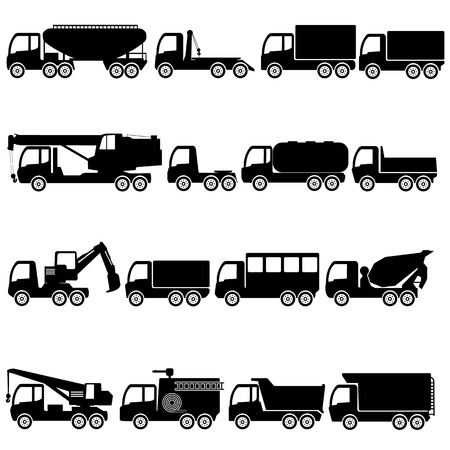 hauler: Set of silhouettes trucks and giant vehicle. in illustration form.