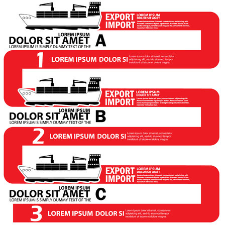 add text: Chart of marine cargo ship on red Line up bound for export and import goods, add text to complete.