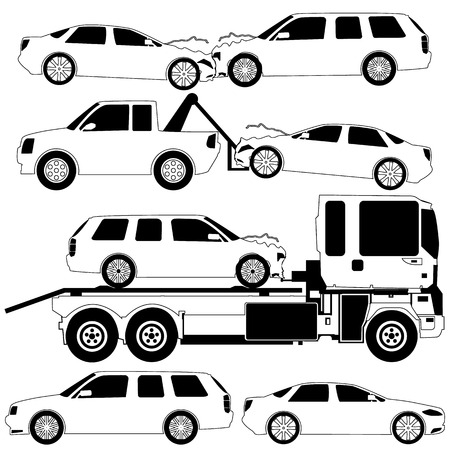 Car collision accident that damaged a trailer and roadside assistance in the form of vector.