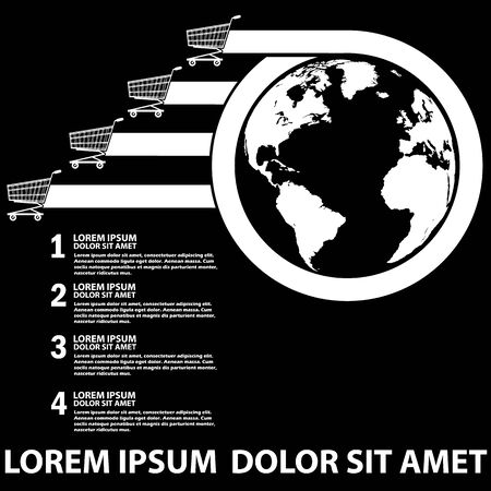 concern: Chart showing the shopping on Earth. The top concern within reach Along with the white stripe to the Text Completion. Vector style