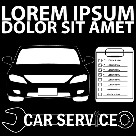 car care center: car check with a check mark in the box. in vector style. Illustration