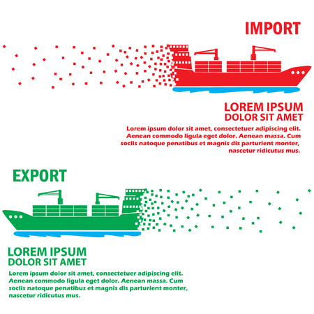 cruising: Color marine cargo ship Cruising speed add your text to for complete. Vector style