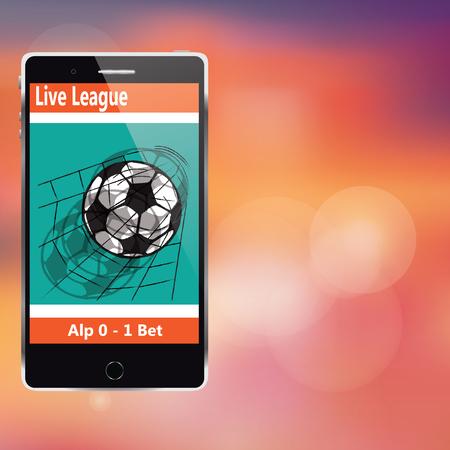 mobile application: soccer on mobile application in vector style. Illustration