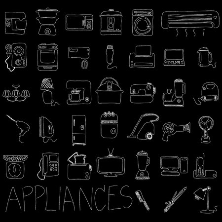 iron fan: Appliances hand drawn with chalk on a chalkboard, white in the form of vector.