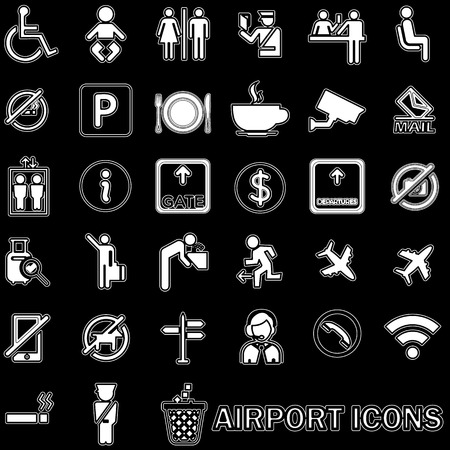 duty belt: white lined pattern Airport icons in vector style.