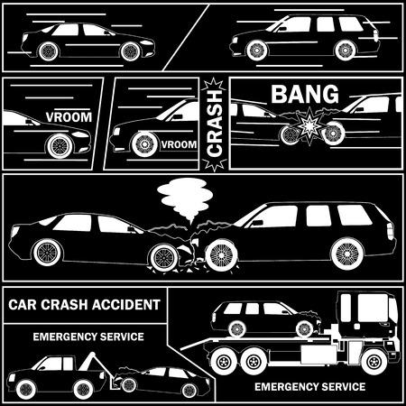 Car crash with comic table. drive concept - vector illustration Illustration
