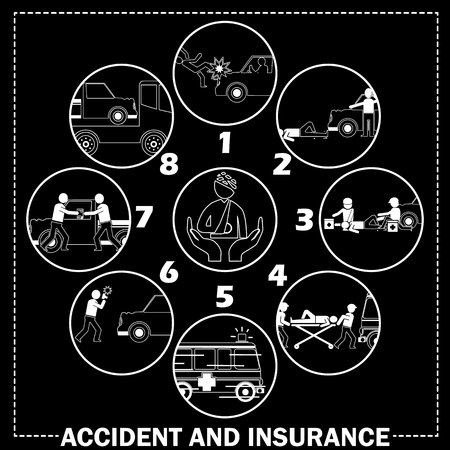 sickbed: Shape icons about pedestrian hit by car accident And call for emergency vehicles Claim receipt of insurance and the towing truck service. in vector style.