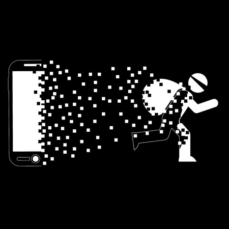 Hacker data out of smartphone screen in brick form vector style. Illustration