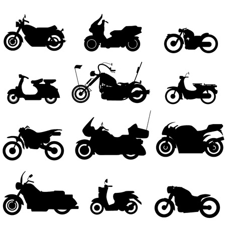 silhouette motorbike icons in style. Illustration