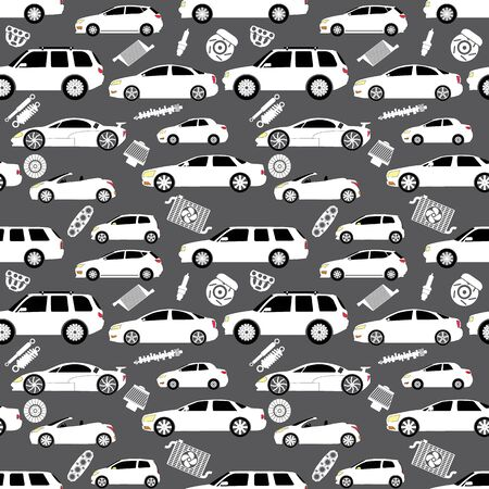 air filter: Cars and Parts in wallpaper seamless. In vector style.
