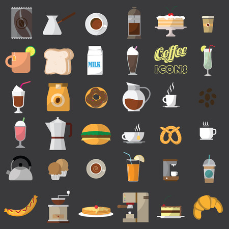 glass paper: color coffee shop icons. In vector style