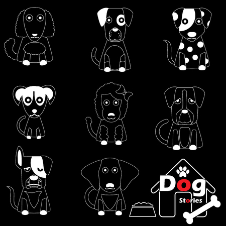 herder: white striped pattern dog icons on black background In vector format. Illustration