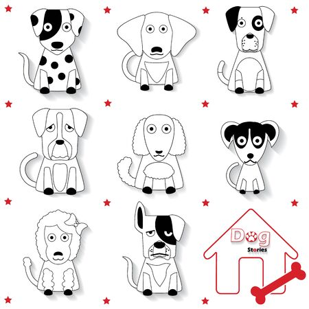 herder: black striped dog icons and shadow. In vector format. Illustration