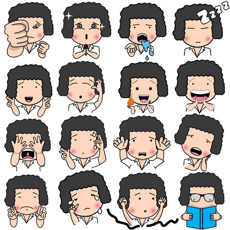animation teenagers: Set of cartoon character different facial expressions. boy face emotions vector icons isolated on background Illustration