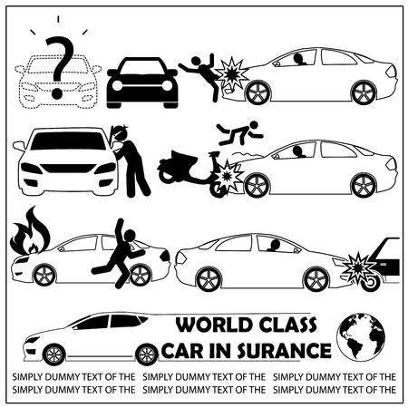 black striped pattern Car crash and car insurance icons in silhouette. In vector style Illustration