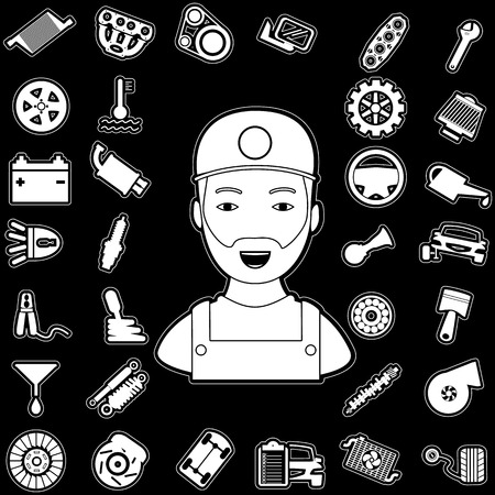 White car parts graphic on a black background and Mechanic navigation to car. In vector style.