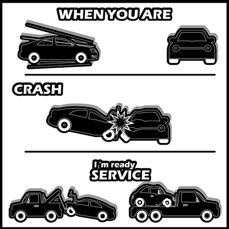 breakdown truck: Car crash and accident in silhouette mode and vector style