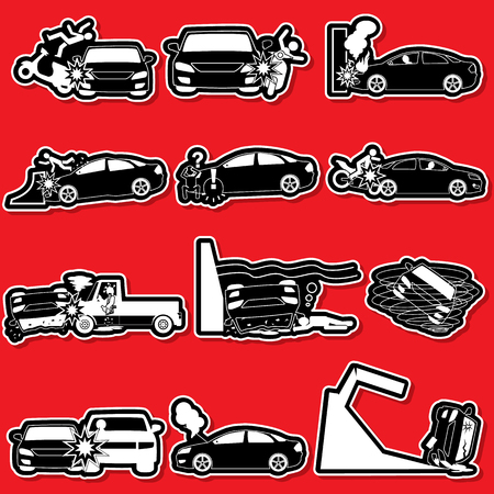 swerving: silhouette icons of personal car accident and insurance sign. In vector style. Illustration