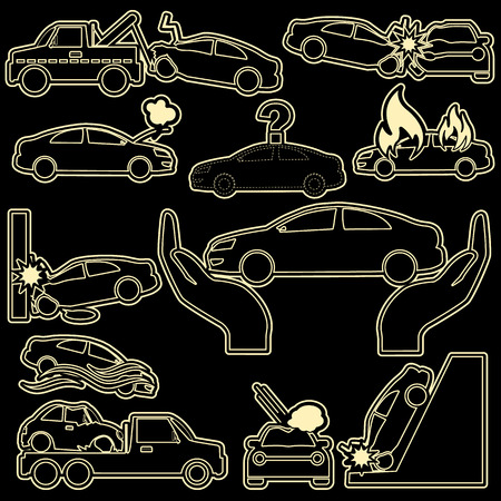 hailstone: Car crash and car insurance icons in stripe pattern line. In vector style Illustration