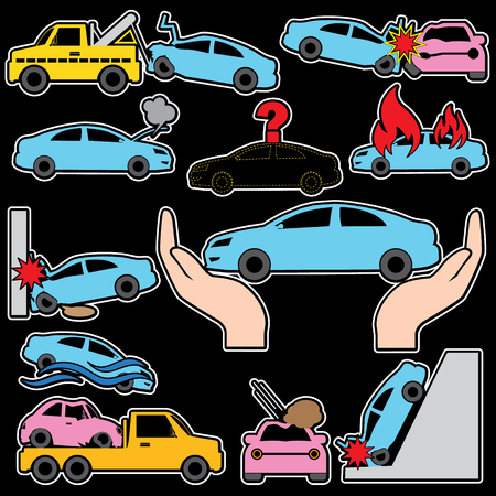 hailstone: Car crash and car insurance color icons. In vector style