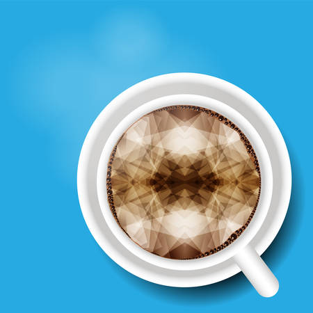 view abstract: top view Abstract a geometric design in Coffee cup, Vector style. Illustration