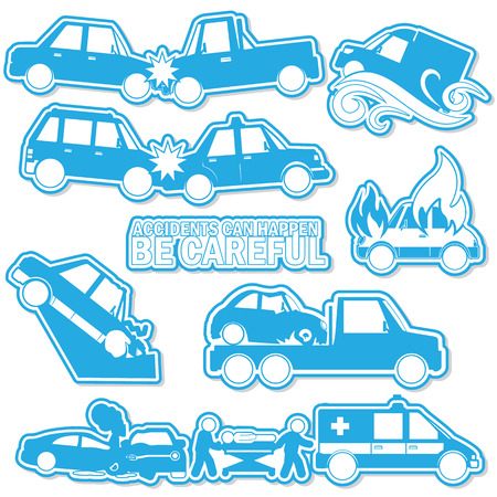Car crash and accident in blue tone sticker mode and shadow. vector style. Illustration