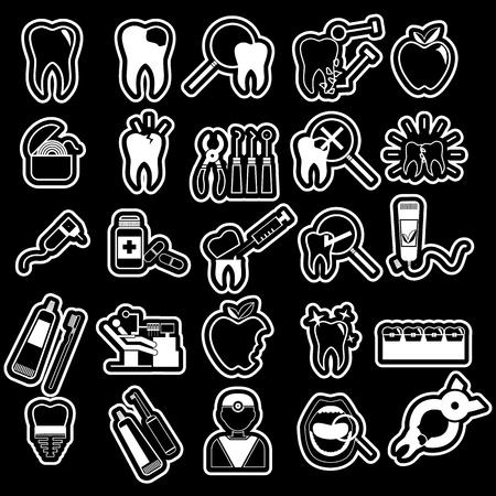 cavity braces: white sticker dentist icons set on blackboard in vector style