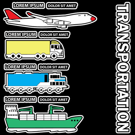 add text: Transportation sticker for add text of business information. Vector style