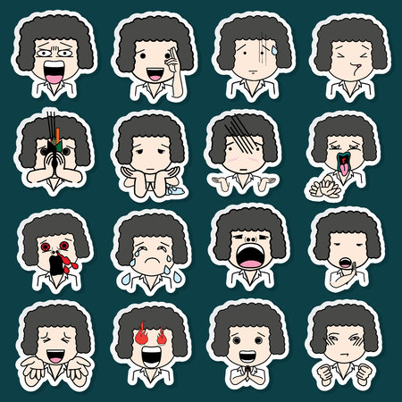 charismatic: Set of sticker cartoon character different facial expressions. boy face emotions vector icons isolated on background Illustration
