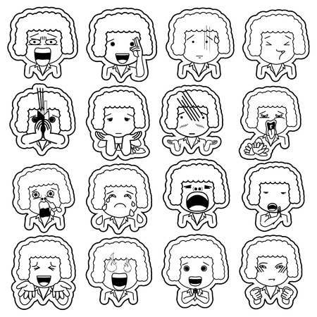 charismatic: White stripe pattern line cartoon character different facial expressions. boy face emotions vector icons isolated on blackboard