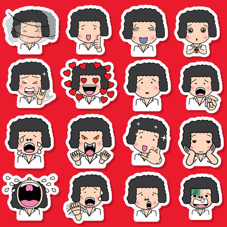 variety: Set of cartoon character different facial expressions. boy face emotions vector sticker icons isolated on red background