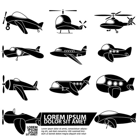 add text: Cute airplane icons for add text of business information. Vector style Illustration
