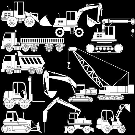 heavy construction: heavy construction vehicle icons style.
