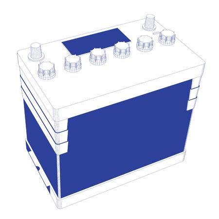 12v: Blue Stripes Car Battery on white background version