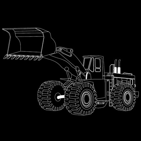 bulldoze: white stripes bulldozer, construction machinery, line drawing style.