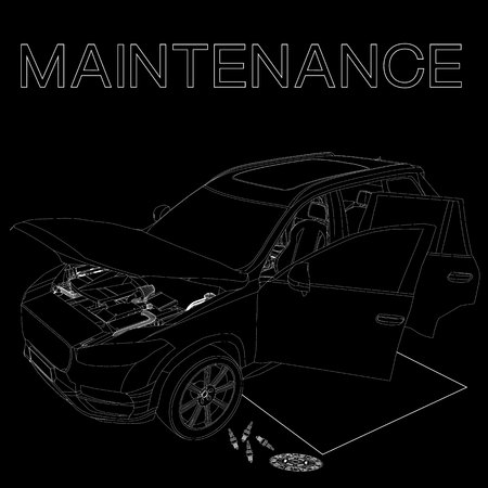 wrecked: Sign of car maintenance on vector style.