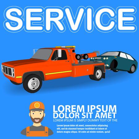 towing trucks with broken cars cartoon vector style Illustration
