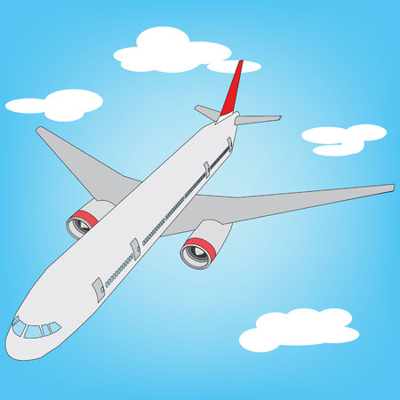 mode of transport: Airplane flying in the blue sky. Airplane in sky concept. vector style.