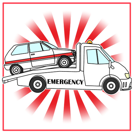 radius: Roadside assistance comic tow truck illustration damage car vector on red radius