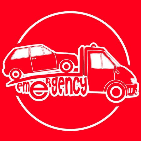 roadside assistance: Roadside assistance white stripe tow truck illustration damage car vector on red background
