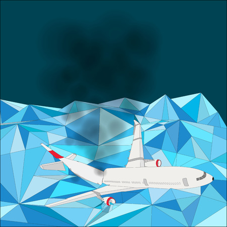 Crashed Airplane on Glacier mountain Peak vector version Illustration