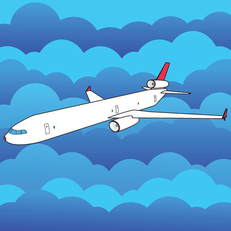 plane flying high above and many cloud vector style Illustration